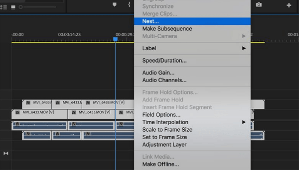 How to create new videos in Adobe Premiere Pro very quickly: use nesting sequences