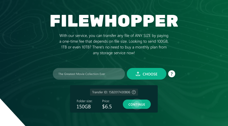 On the main page of FileWhopper, after choosing a large folder from your computer, you will see the cost of the transfer.