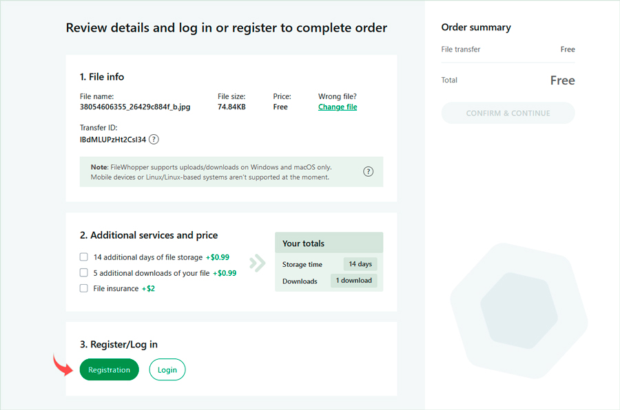 You can register from the FileWhopper order confirmation page